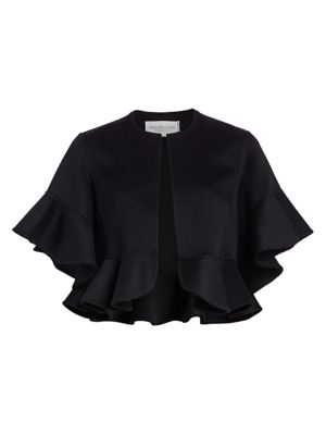 Ruffled Wool & Angora-Blend Short Jacket
