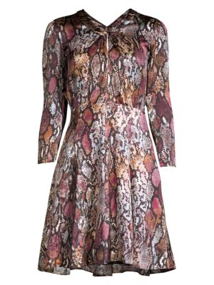 Met Python Print Silk Mini Dress
