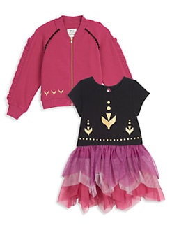 디즈니 겨울왕국2 원피스 자켓 세트 Pippa & Julie Disneys Frozen 2 Little Girls & Girls 2-Piece Anna Tiered Mesh Dress & Jacket Set,Purple