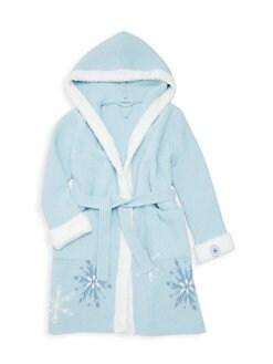 디즈니 겨울왕국2 걸즈 스노우플레이크 후리스 원피스 Barefoot Dreams Disneys Frozen 2 Little Girls & Girls Snowflake Fleece Robe,Ice Blue