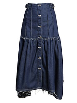 Chloe Pleated Button Front Denim Midi Skirt