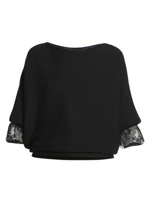 Ribbed Wool Lace Detail Sweater