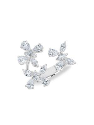 Luminal 18K White Gold & Diamond Flower Open Ring
