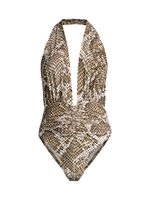 Marissa Snake-Print Slinky Halter One-Piece Swimsuit