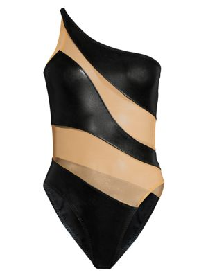 Snake Mesh One-Shoulder One-Piece Swimsuit