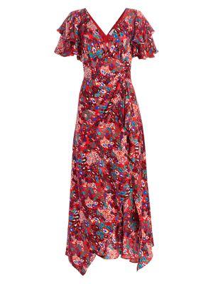Clementine Tiered Ruffle Print Silk Maxi Dress