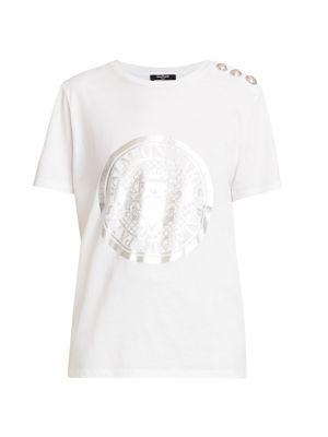3-Button Metallic Crest Graphic T-Shirt