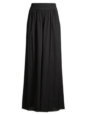 Hailey Pleated Wide-Leg Silk Pants