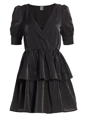 Romance & Rituals Akima Velvet Puff-Sleeve A-Line Wrap Dress