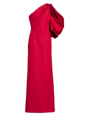 One-Shoulder Puff-Sleeve Silk Faille Gown