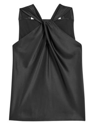 Twist Stretch-Silk Halter Top
