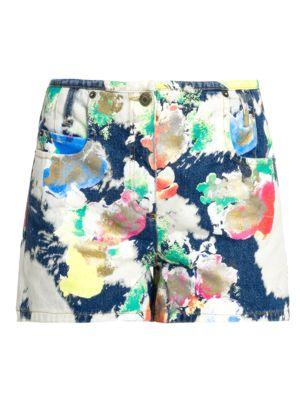 Abstract Print Denim Shorts