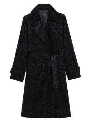 Oaklane Faux Fur Tie-Waist Trench Coat
