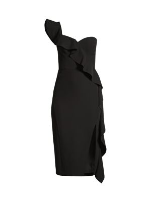 Crepe One-Shoulder Ruffle Sheath Dress