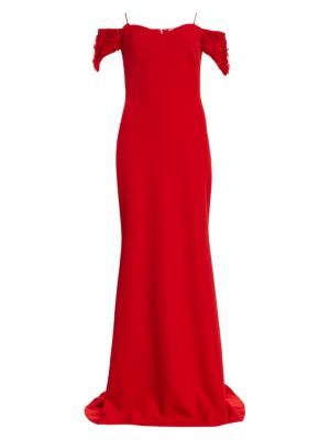 Floral Appliqué-Sleeve Stretch-Crepe Off-the-Shoulder Column Gown