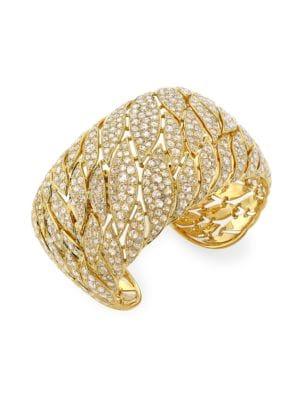 Petal 18K Yellow Gold & Diamond Pavé Wide Cuff Bracelet