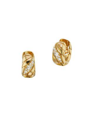 Petal 18K Yellow Gold & Diamond Hoop Earrings