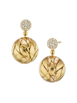 Petal 18K Yellow Gold & Diamond Ball Drop Earrings