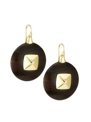 Voyager 18K Yellow Gold & Wood Disc Drop Earrings