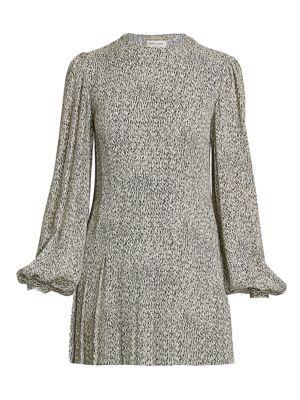 Abstract Print Blouson Sleeve Mini Dress