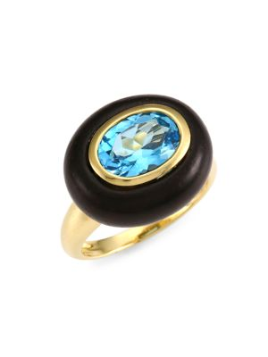 Voyager 18K Yellow Gold, Wood & Blue Topaz East-West Ring