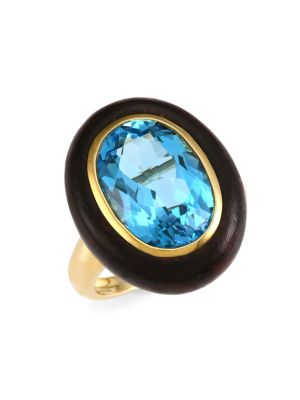 Voyager 18K Yellow Gold, Wood & Blue Topaz North-South Ring