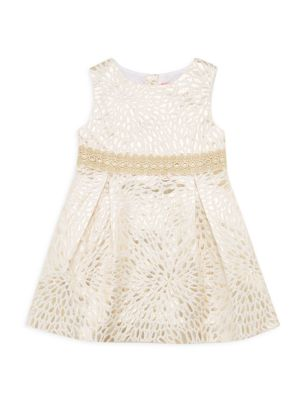Little Girl's & Girl's Abrianna Metallic Jacquard A-Line Dress