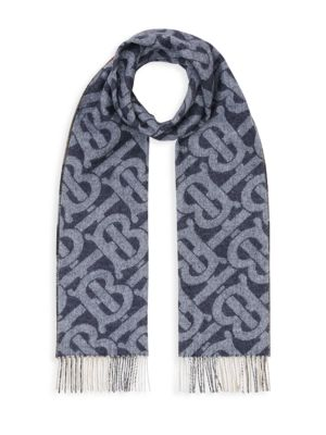 Reversible Check and Monogram Cashmere Scarf