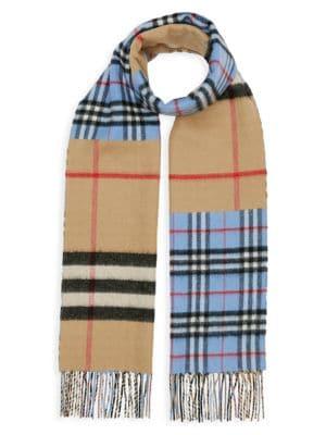 Contrast Check Cashmere Merino Wool Jacquard Scarf