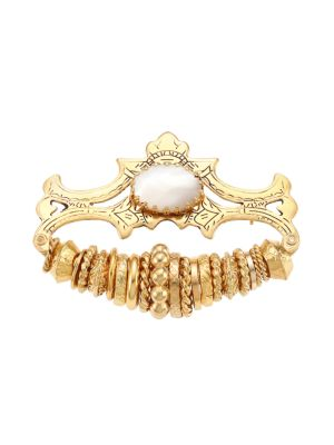 Goldtone & Glass Cabochon Rings Brooch