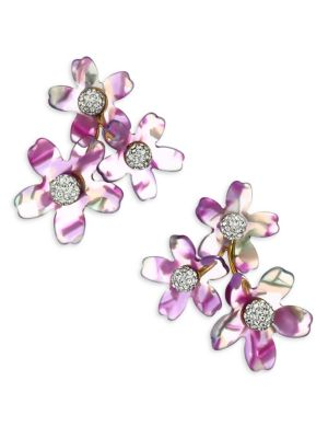 Garden Bouquet 14K Goldplated Multi-Stone Stud Earrings