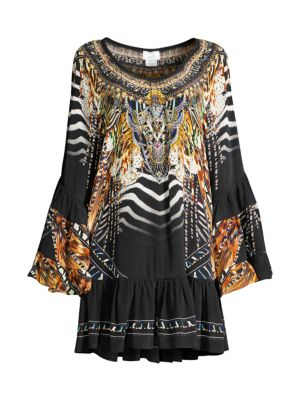 Mixed Print Silk A-Line Cover-Up