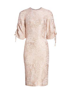 Metallic Puff-Sleeve Dress