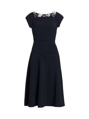 Crepe Boatneck A-Line Dress