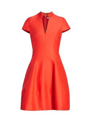 Cap-Sleeve Silk-Blend Faille Flare Dress