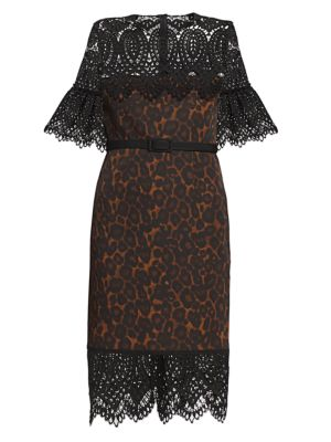 Kiya Lace Yoke Leopard-Print Sheath Dress