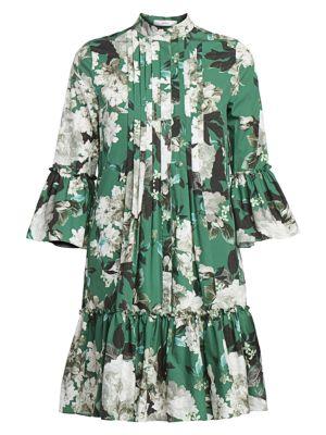 Winford Rose Wallpaper Bell Sleeve Shirtdress