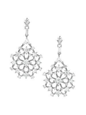 Silvertone Cubic Zirconia Cluster Lace Drop Earrings