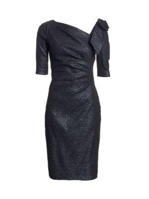 Bow Metallic Cocktail Dress