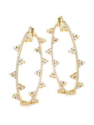 18K Goldplated Sterling Silver & Cubic Zirconia Hoop Earrings