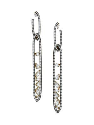 Ruthenium-Plated & Cubic Zirconia Cluster Oval Double-Drop Earrings