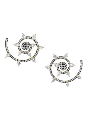 Ruthenium-Plated & Cubic Zirconia Spiral Stud Earrings