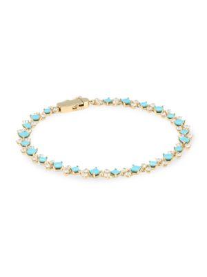 18K Goldplated, Blue Nano & Cubic Zirconia Tennis Bracelet
