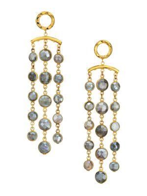 22K Goldplated & Pyrite Tassel Earrings