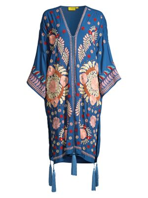 Salcete Kimono-Sleeve Embroidery Cover-Up