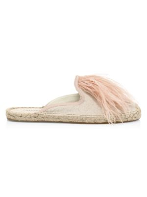 Feather-Trimmed Espadrille Mules