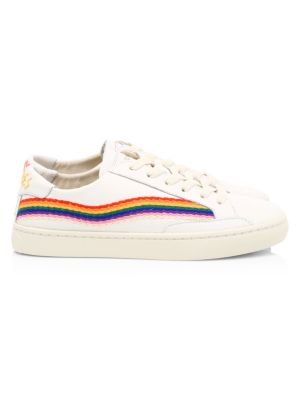 Rainbow Wave Embroidered Leather Sneakers