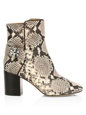 Kira Snakeskin-Embossed Leather Ankle Boots