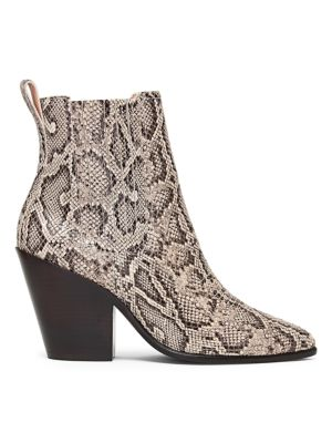 Kali Western Snakeskin-Embossed Leather Ankle Boots