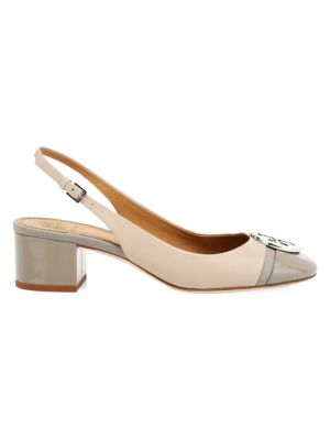 Minnie Cap-Toe Leather Slingback Pumps